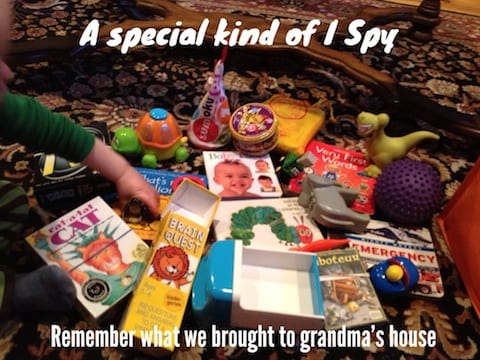 DIY I Spy to never forget a toy at Grandma's