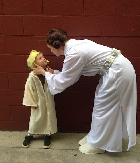 Princess Leia and Yoda are a fun Mom and Baby Halloween costume