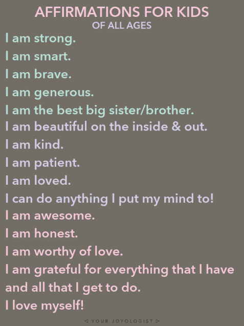Affirmations for kids Infographic