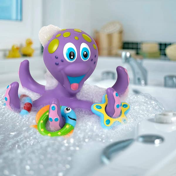 Nuby Floating Purple Octopus with 3 Hoopla Rings Interactive Bath Toy - Award winner best toy for two year olds
